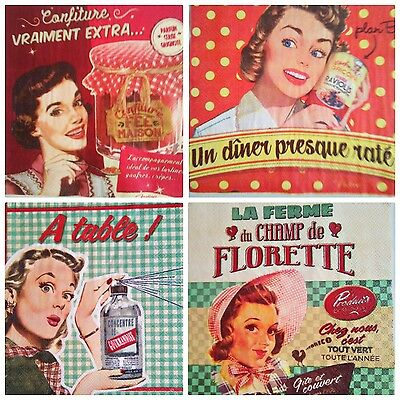 4 x SERVILLETAS DE PAPEL / DECOUPAGE CRAFT, WOMAN RETRO  NAPKINS