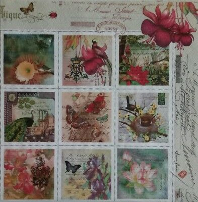 Paper Napkins,4 for Decoupage, Vintage Style Stamps.Servilletas papel decoupage