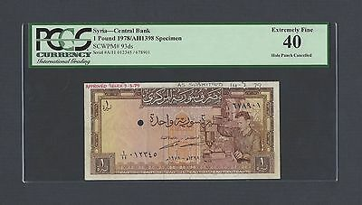 Syria Syrie One Lira 1978/AH1398 P93ds Specimen Extremely Fine