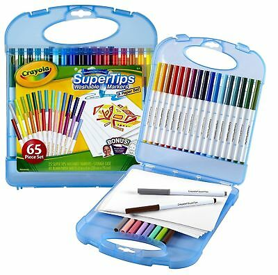 Crayola Super Tips Washable Markers and Paper Set, 65 Piece Art Kit 04-5226