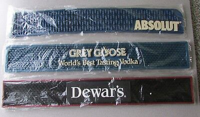 Bar Mats ~ Lot of 3 ~ Sealed ~ Absolut / Grey Goose Vodka / Dewar's Scotch  HTF