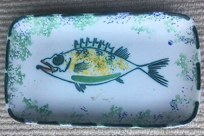Vintage Honiton Studio Pottery Ceramic Dish With Fish Design