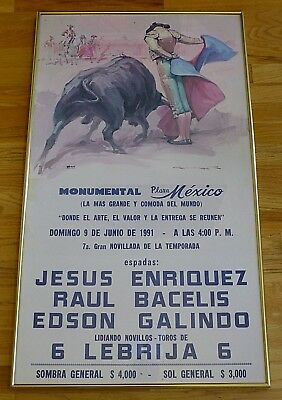 "Framed 1991 Bullfighting Poster from Mexico 37"" x 22"""