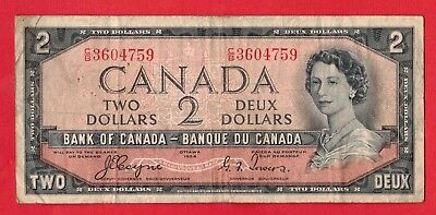 1954 $2 Bank of Canada Devil Face BC-30a Coyne-Towers C/B Prefix 3604759