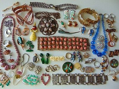 55 Piece Lot of Vintage Costume Jewelry - Mid Century Era