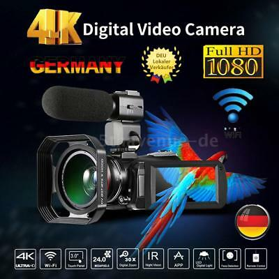 4K HD 24MP 30X ZOOM Touchscreen LCD Digitaler Video Kamera Camcorder DV Recorder