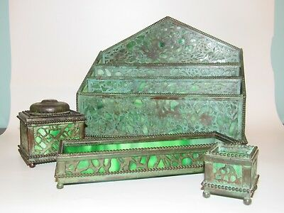 Antique Riviere Studios NY grapevine bronze glass inkwell desk set