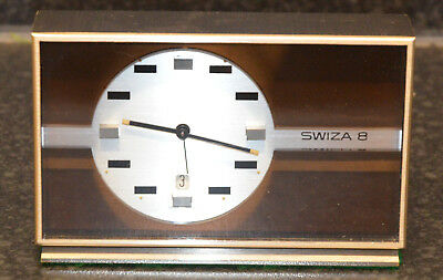 Beautiful Vintage Swiza 8 - Brushed Steel 8-Day Alarm Clock with Date