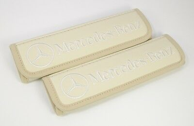Seat Belt Leather Shoulder Pads Covers Mercedes Benz Light Beige Embroidery