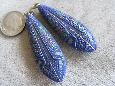 Pr Vintage Czech Egyptian Revival Art Deco Glass Bead Pendants Blue Colorful
