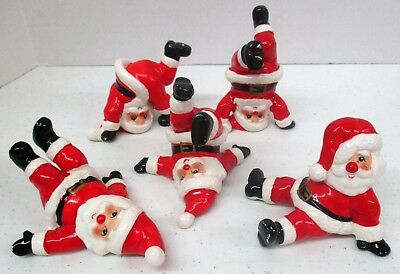 Fitz & Floyd 1976 5 Piece Tumbling Santa Set with Tags Japan Christmas VTG