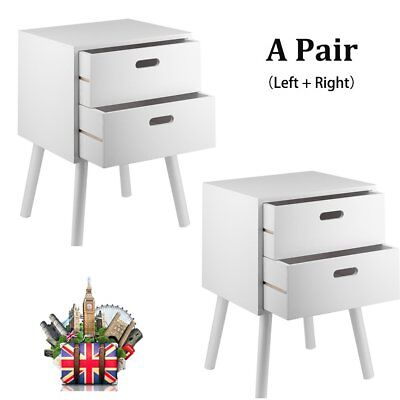 A Pair Of White Bedside Tables Cabinets Units Nightstand Table With