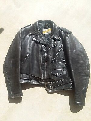 de4e71755 SCHOTT PERFECTO VINTAGE Men's Black Leather Motorcycle Biker Jacket size 42