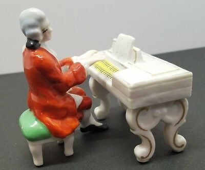 Vintage Old Castle Victorian Pianist Playing Piano Porcelain Figurine Japan rare