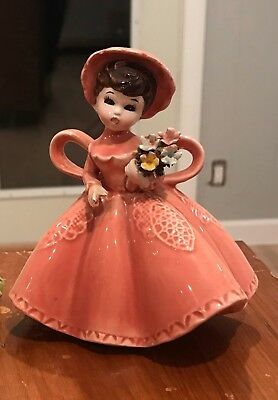Vintage Lefton 4227 Japan Porcelain Lady, Pink Dress, Black Hair