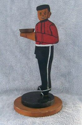ANTIQUE 1930's AMERICAN FOLK ART DECO PAINTED BELLHOP BELL BOY BUTLER STAND 16""