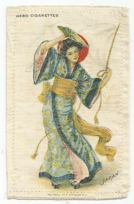 Large Vintage Nebo Cigarette Tobacco Silk - Lady & Flag of Japan
