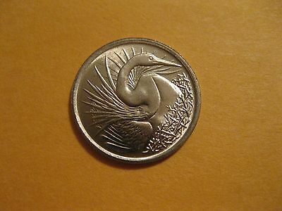 "1974 Singapore coin "" Great White Egret"" Uncirculated beauty animal bird"