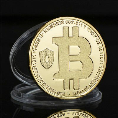 Hot Blue Gold Plated Physical Bitcoin Commemorative Round Collections Coins