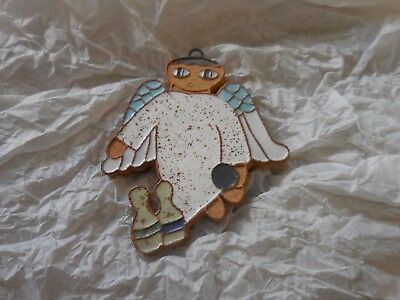 """Vintage Saint Andrews ABBEY Pottery Wall Plaque Tile Bowling ANGEL BLESSING 4"""""""