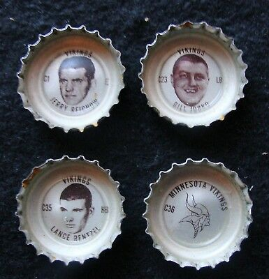 1965-66 Minnesota Vikings Tab Bottle Cap Lot - Reichow Rentzel Jobko & Team Logo