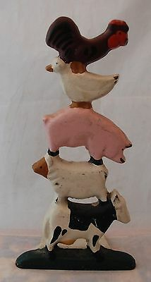 Cast Iron Country Barnyard Farm Animals Doorstop Cow Sheep Pig Duck Rooster