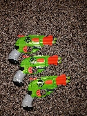 Lot of 3 Hasbro Nerf Z-Strike Zombie Double Strike Pistol Dart Gun w/ Darts