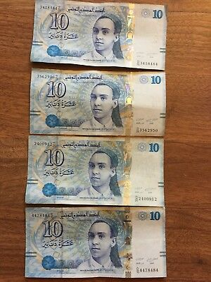 Lot Of 4 Tunisia 10 Dinars (20.3.2013) Tunisian Money
