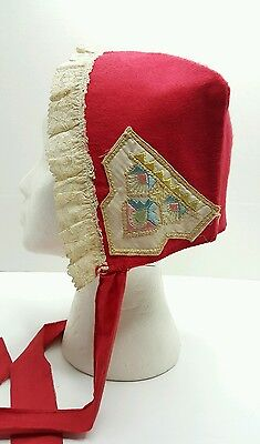 Childs Red Bonnet Cap Lace Trim Embroidery Accents Early Pennsylvania
