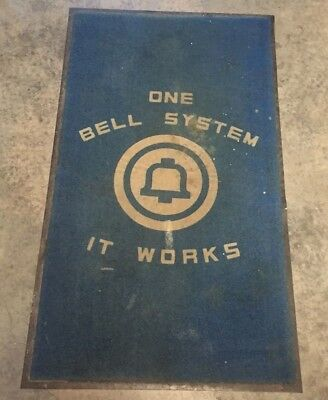 """""""One Bell System It Works"""" shop rug memorabilia 34"""" x 60"""" Advertising telephone"""