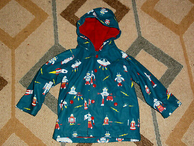 Hatley Rain Coat Robot Space Boys Size 2 Terry Lining Hooded Rocket