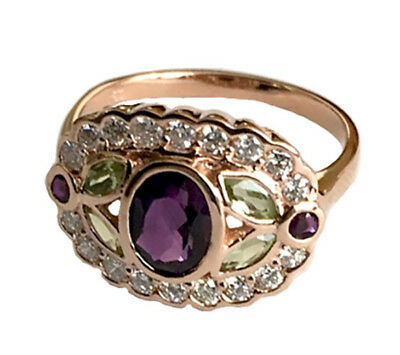 R296 Genuine 9K Gold Natural Amethyst Peridot Diamond Ring Suffragette your size