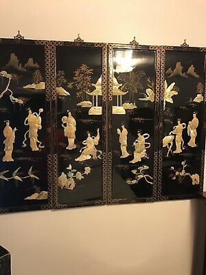 "Antique Japanese""Geisha Girls"" Mother Of Pearl Black Lacquer Wall Panels"