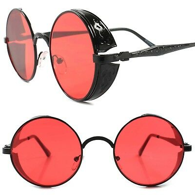 Side Shield Vintage Retro Old Vampire Goth Steampunk Red Lens Round Sun Glasses