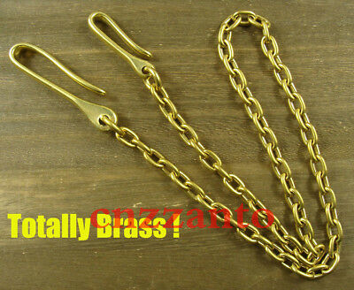 Golden Solid brass Pants Fob Wallet Chain fish hook Lobster clasp swivel keyring