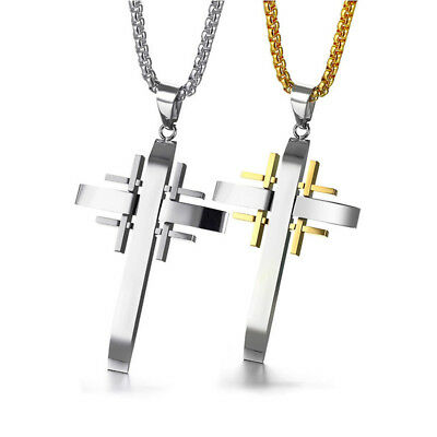 Crusader Cross Pendant for Men Necklace Stainless Steel Christ Pray Male Jewelry