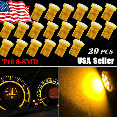 20X Amber Yellow T10 8SMD LED Interior Dome Map Light Bulbs W5W 192 168 194 2825