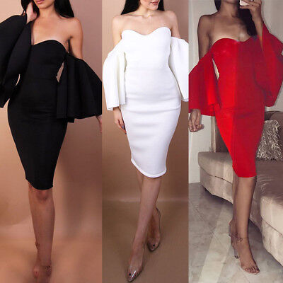 AU New Women's Summer Off Shoulder Ruffled Dress Cocktail Party Bodycon Dresses