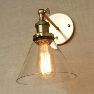 Industrial Wall Lamp Sconce Brass Clear Glass Shade Barn Indoor Light Wall Light