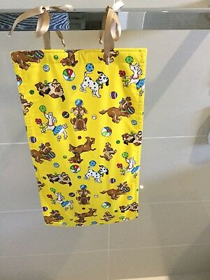 Pups On Yellow, Nappy Diaper Stacker, Slim Line, Space Saver, Handmade, New