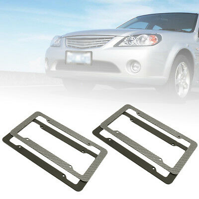 2pcs Universal Number License Plate Holders Surrounds Frames Any Car - Black