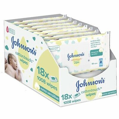 Johnsons Baby Extra Sensitive Fragrance Free Wipes - Pack of 18 x 56 Sheets