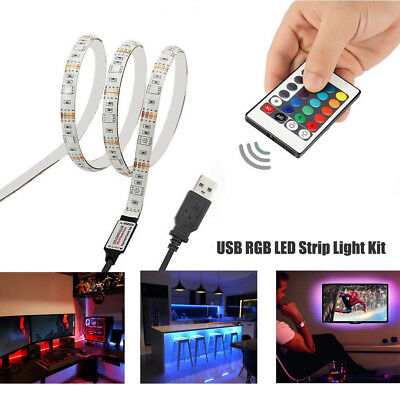 1m 2m USB LED Strip Lights IP65 5050 RGB TV LED Strip With Remote Controller