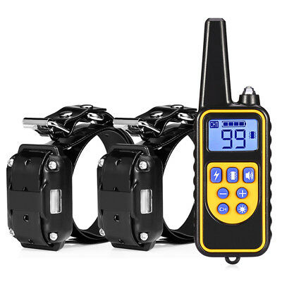 800m Waterproof Rechargeable Remote Control Dog Electric Training Collar Black