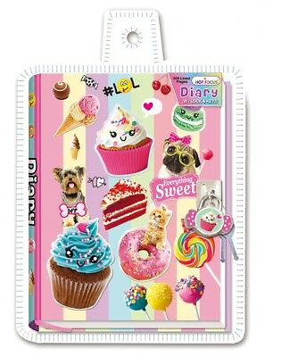 Sweet Cupcake Candy Diary with Lock Lockable Children Pink Journal Note Book NEW