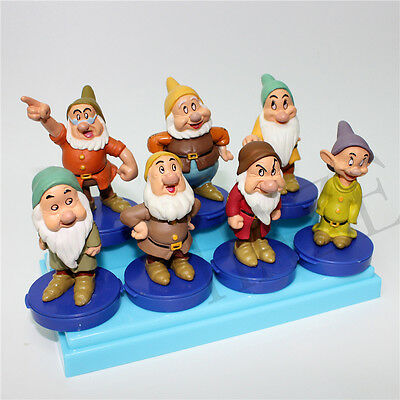 SNOW WHITE SEVEN DWARFS FIGURE Rubber Figurines Vintage Toys OOO