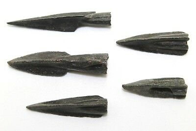 Five Extremely Fine Ancient Bronze Arrow Heads.     2V220