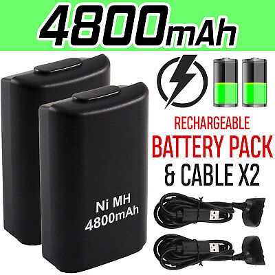 1/2 x 4800mAh Rechargeable Battery USB Charger Cable Pack for Xbox360 Controller