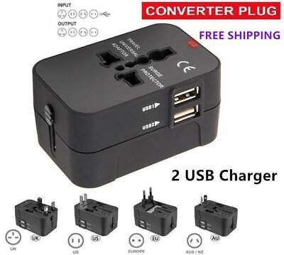 Universal Travel Adapter USB Wall AC Power 250v 110v for AU EUROPE USA UK 2 USB