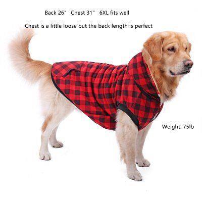 Large Medium Dog Plaid Shirt Coat Hoodie Pet Winter Clothes Warm And Soft Appeal